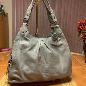 COACH Large MAGGIE Hobo Gray Leather #13897